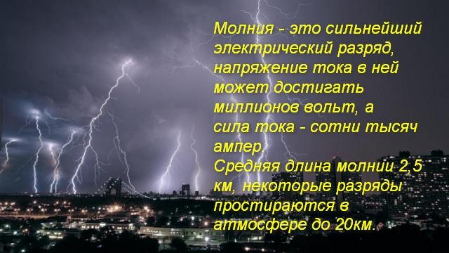 сильная молния над городом