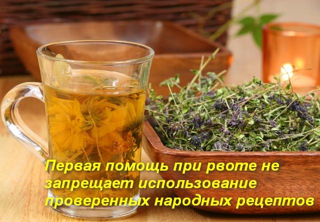 кружка с чаем и блюдо с лекарственными травами