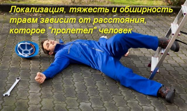 человек упал и лежит